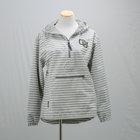 Ouks Women's Stripe Anorak 1/2 Zip Jacket